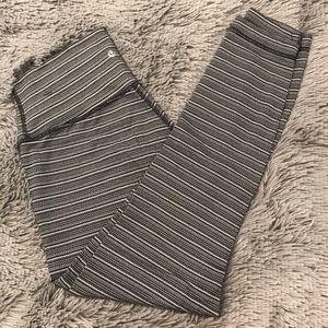 Black and white striped Lululemon leggings